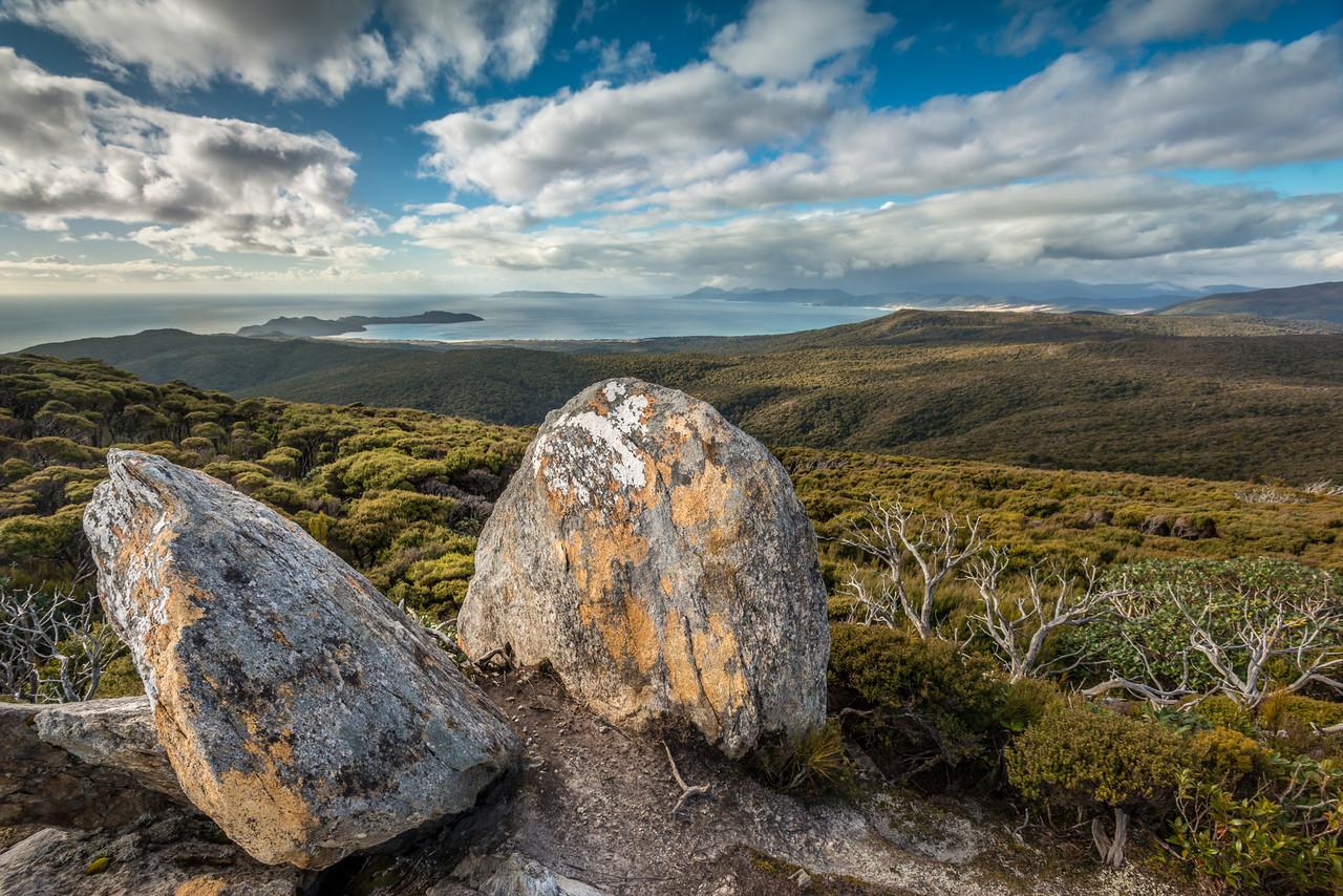 On top of Adams Hill, looking back towards Mason Bay