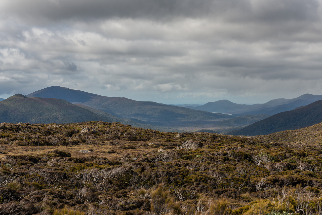 View into the Rakeahua River valley from Doughboy Hill. Bald Hill is above the South West Arm of Paterson Inlet. Table Hill is on the far right; Mount Rakeahua on the far left