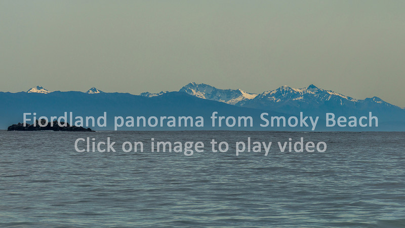 Video: the coast and mountains of Fiordland from Smoky Beach. Bishop and Clerks Islands in the foreground