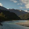 View up the Karangarua Valley to Fettes Peak