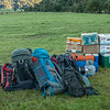 Gear pile - two weeks of food, clothes, beverages, and botanical supplies