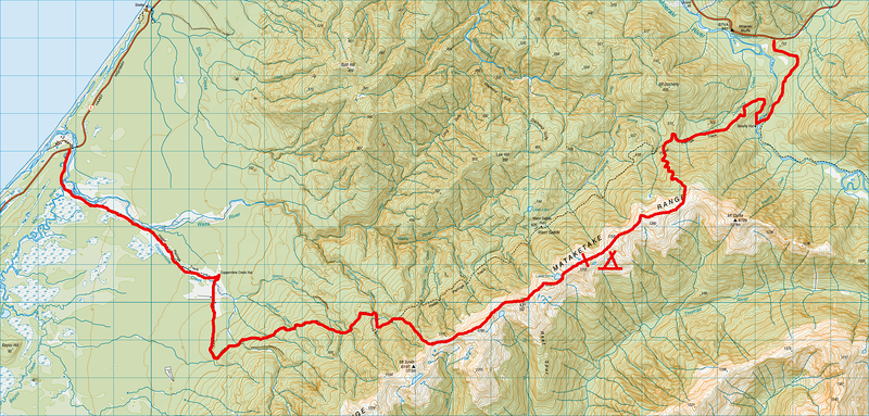 Mataketake range 16 18 june 2012 jaz morris photography route map 1 grid square 1km2 click to enlarge gumiabroncs Choice Image