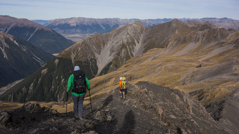 Descending off the summit intially towards Mt Bealy.
