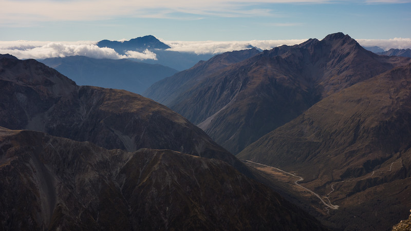 Arthur's Pass and Mt Alexander from the summit of Avalanche Peak.