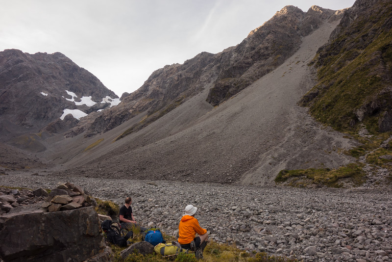 Marvelling at the scree slope.