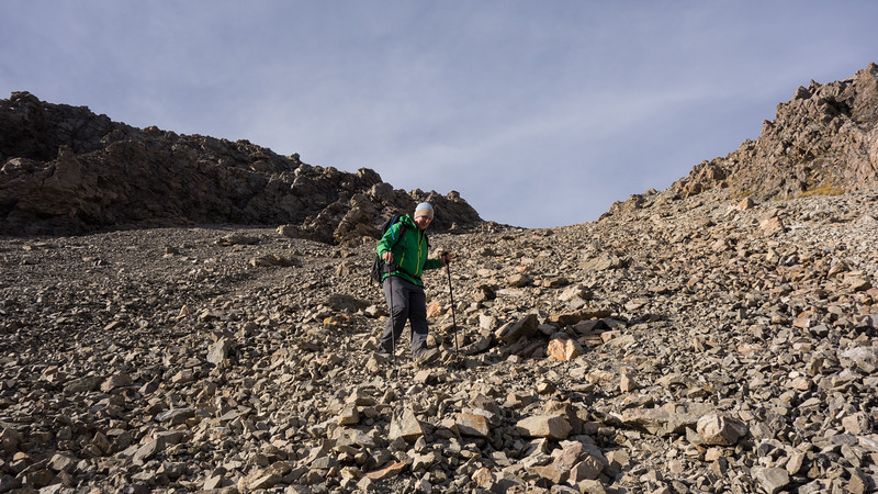 Stefan making the acquaintance of lovely Southern Alps scree.