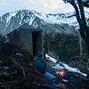 Warming fire outside the hut (photo - James Thornton).