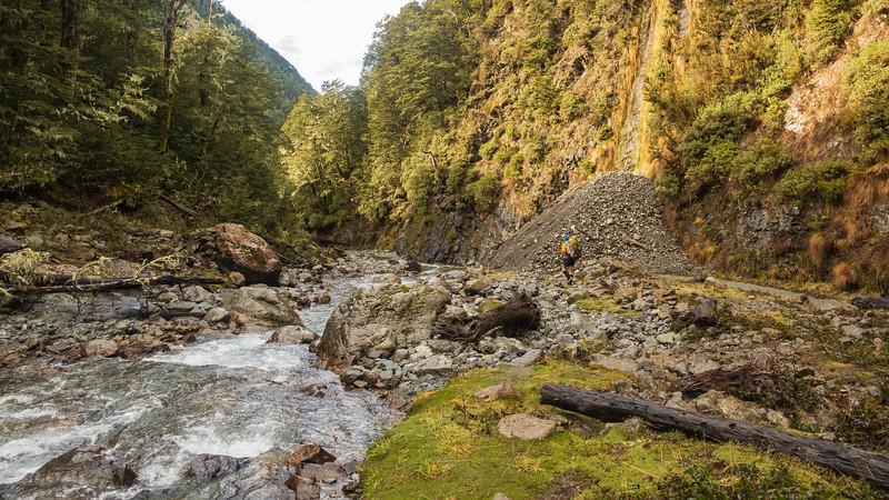 Impressive earthquake damage in Basin Creek.