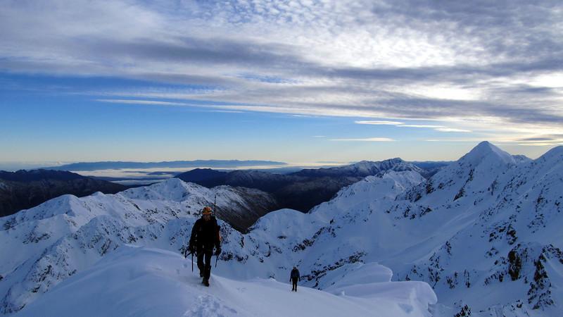 Merv and Marta nearing the summit, West Coast behind.