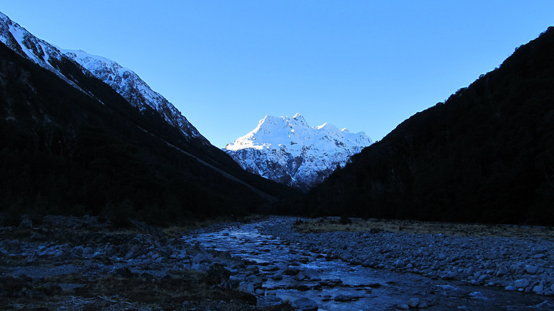 Looking up the Waimak towards Carrington Peak at sunset. A car accident near Arthur's Pass meant that the road was closed until 11 am and that we could only start walking from Klondyle Corner at 12.30pm.