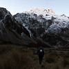 Walking up the Waimak near Campbell Creek confluence, Carrington Peak above - catching the evening sun.
