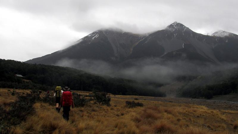 Reaching Hamilton Hut, Grey Range behind.