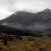 Reaching Hamilton Hut, Grey Range behind.