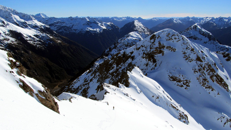 James descending the North Ridge of Falling Mountain, Pt 1773m we traversed over behind