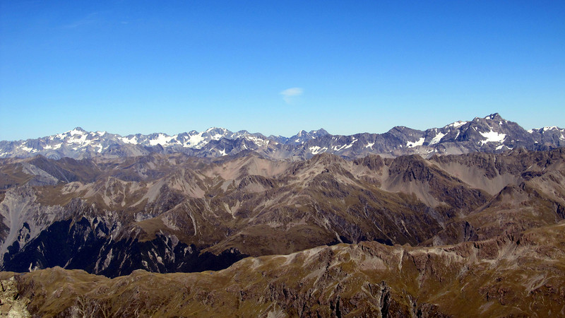 View of the Arthur's Pass peaks from the Polar Range. Murchison on the far left, Rolleston on the far right.