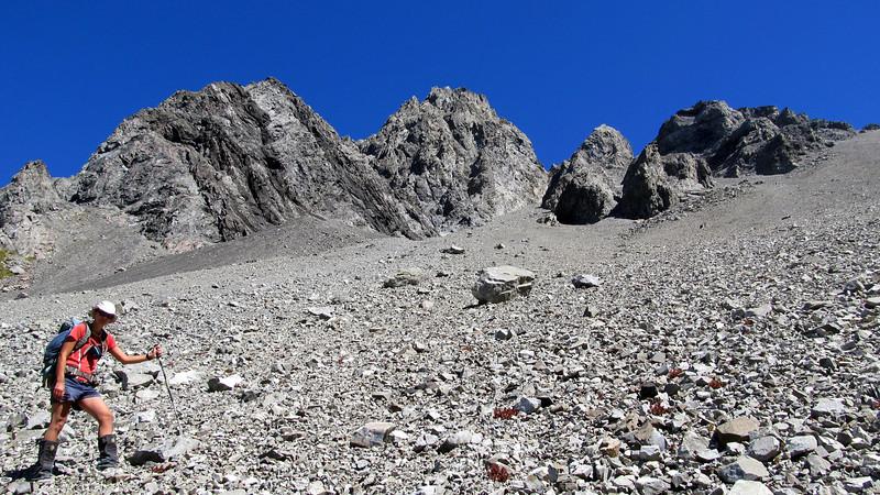 Descending scree below Mt Scott into Sudden Valley.