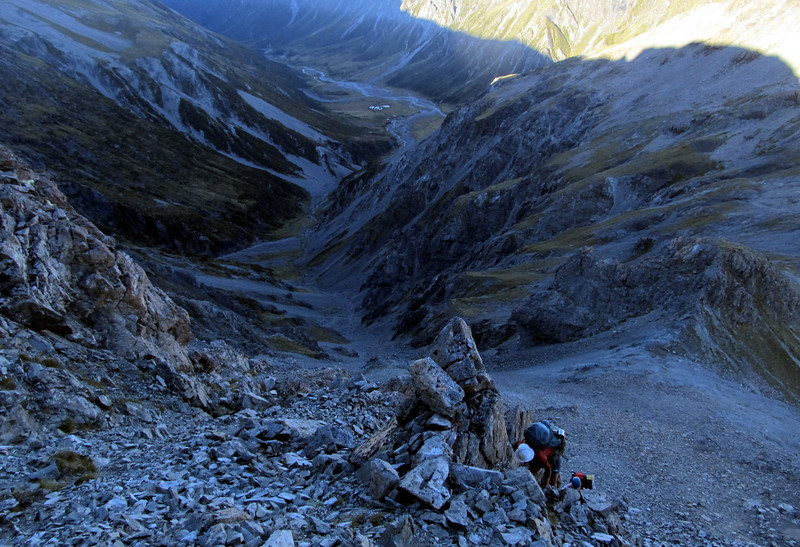 Climbing to Pt. 1828m, Edwards Valley below.