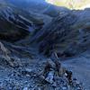 Climbing to Pt. 1828m, Edwards Valley below.