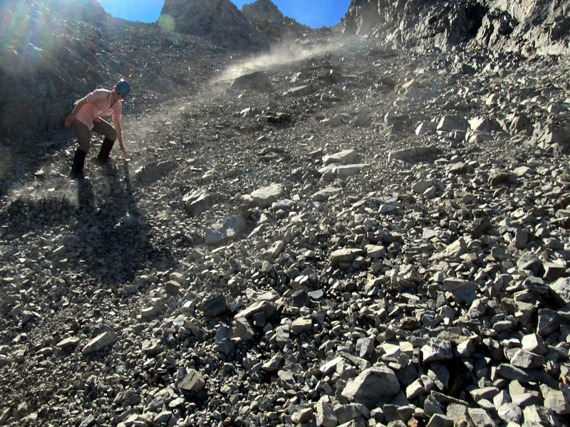 Claire descending scree off Mt Scott.