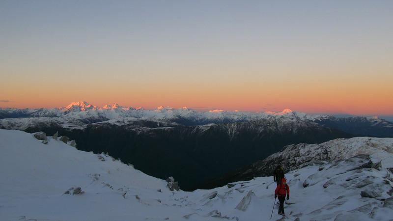 Mt Alexander tops. From left to right: Mts Rolleston, Armstrong, Murchison,   Davie, Rosamond, Tara Tama.