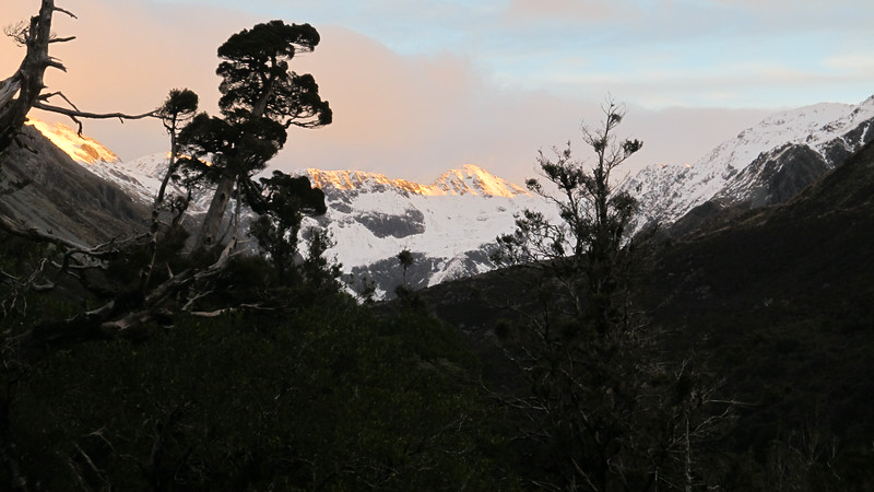 The head of Hunts Creek and Mt Armstrong from the track to Hunts Creek Hut.
