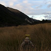 James making his way through the tussock on Hunts Saddle.