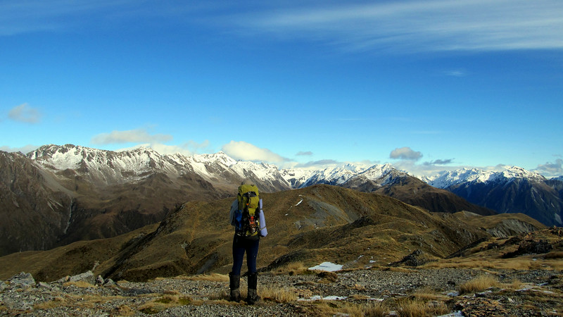 James travelling south along the Kelly Range, Barron Ridge on the left, head of Hunts Creek centre and head of the Taipo on the right.