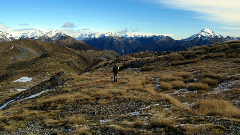 Me travelling south along the Kelly Range, Taipo valley tops above with Tara Tama on the right.