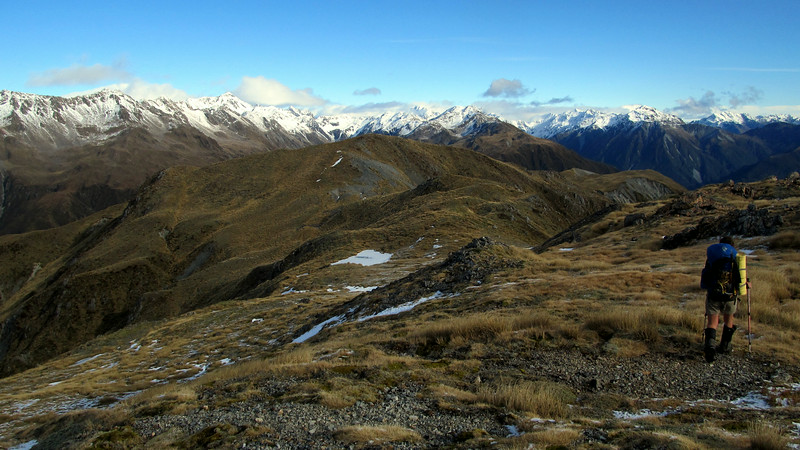 Me travelling south along the Kelly Range, Barron Ridge on the left, head of Hunts Creek centre and head of the Taipo on the right.