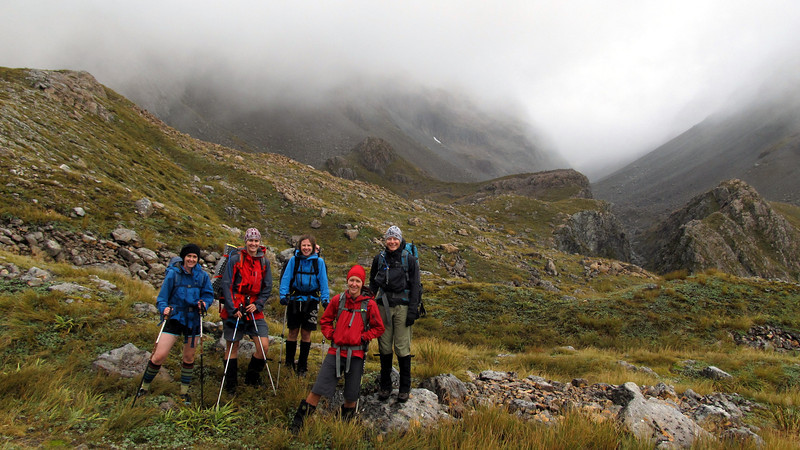 The team on Harman Pass, Whitehorn Pass behind.