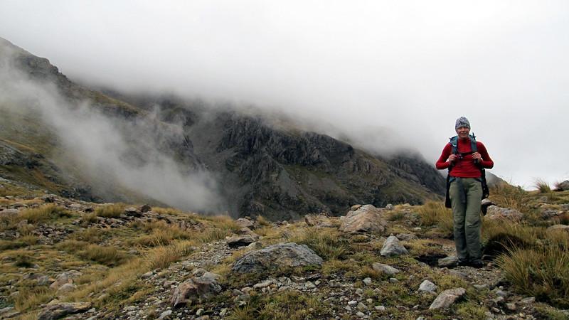 Yvonne reaching Harman Pass.