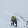 Downclimbing the ridge.