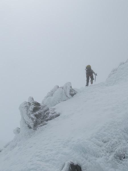 On the summit ridge.