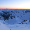 Looking down the White Glacier at dawn, Mt Armstrong, Rolleston, Franklin in the distance.