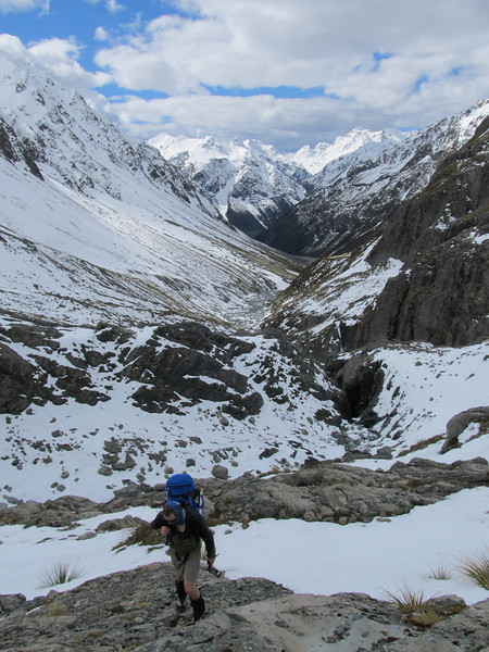 Climbing up to Barker Hut after crossing the creek below above the chasm.