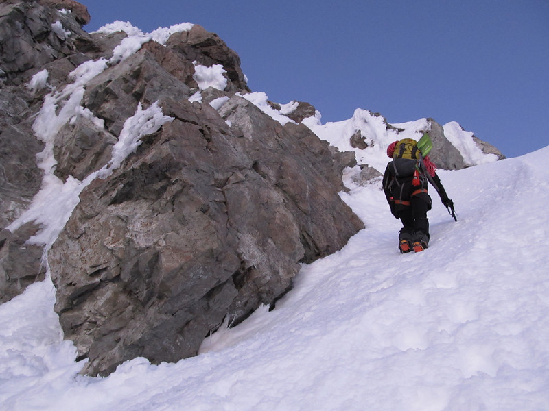 James climbing the couloir to gain the North Rige of Murchison.
