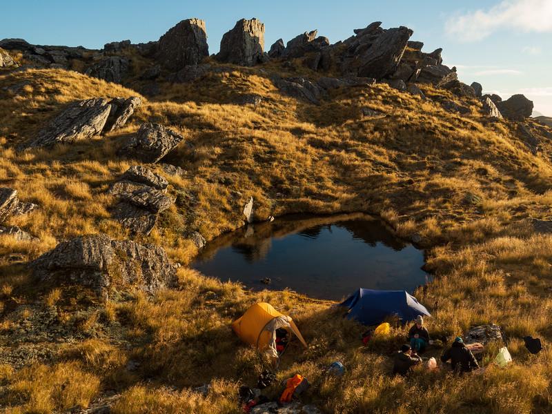 Tarn camp at 1400 m.