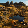 Tarn camp at 1400 m.