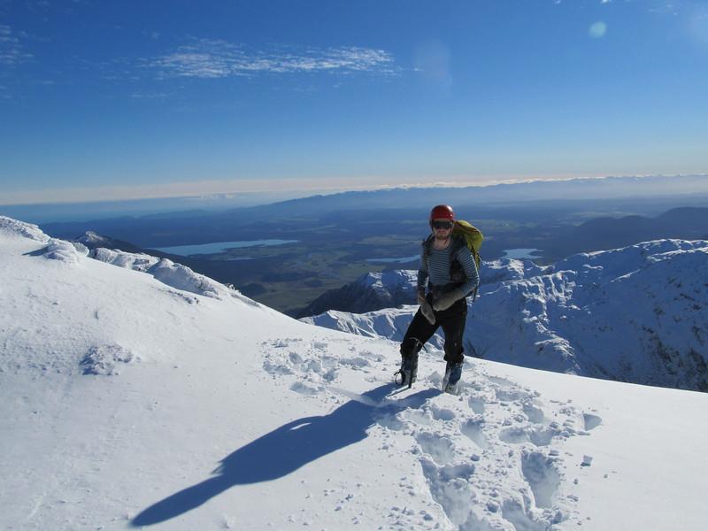 James above Lake Brunner, Paparoa Range in the distance.