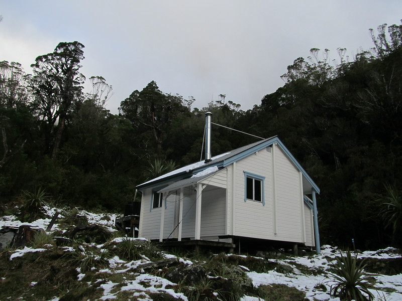 Camp Creek Hut in white.