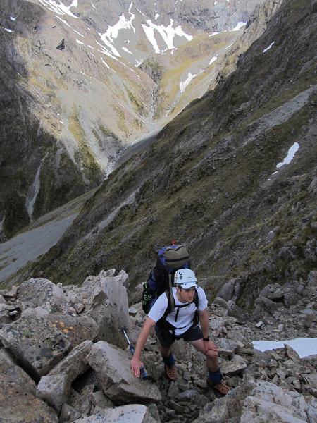 Rock scramble below the ridge above Lake Florence.