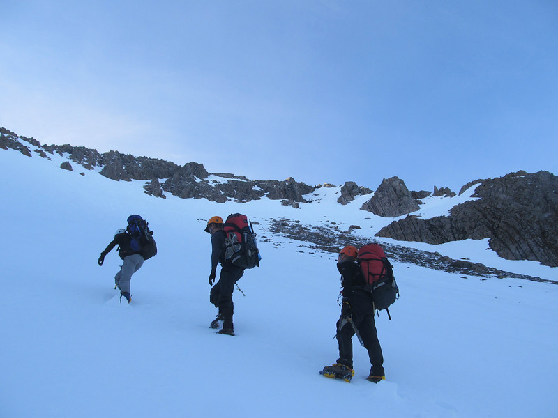 Gaining height on the snow slope below Mt Armstrong.