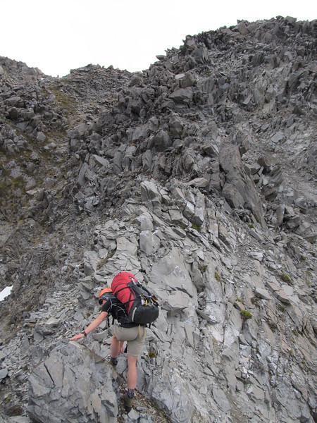 Rock scramble below the ridge overlooking Lake Florence.