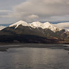 Mt Binser above the Waimak from the Mt White Bridge.