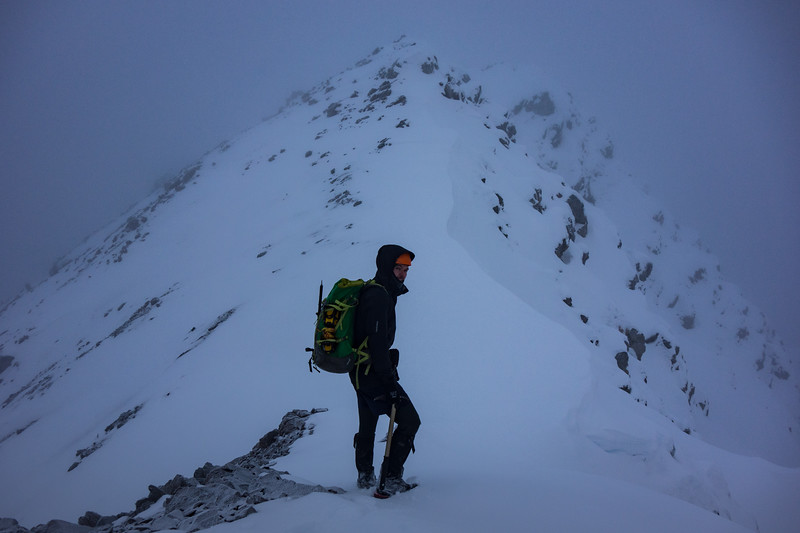 Scott on the final 20 m to the summit.