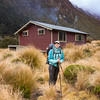 Claire arriving at Edwards Hut.