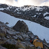 Mt Davie above our camp (top left corner).