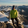 Me on the summit at 6.30 am, White River below, Mt Isobel left of me, Rolleston right of me.