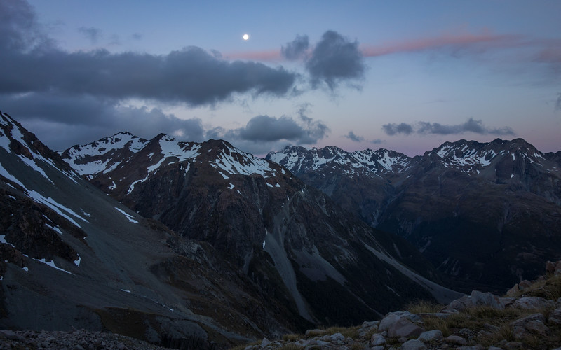 Moon above the Arthur's Pass peaks. Rolleston in the centre image in the distance.