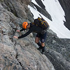 Scrambling through the bluffs below the Crow Glacier.
